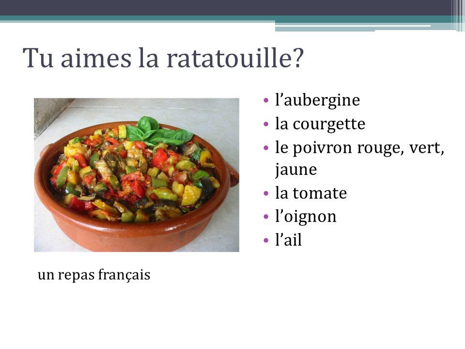 Tu aimes la ratatouille? l'aubergine la courgette le poivron rouge, vert, jaune la tomate l'oignon l'ail un repas français