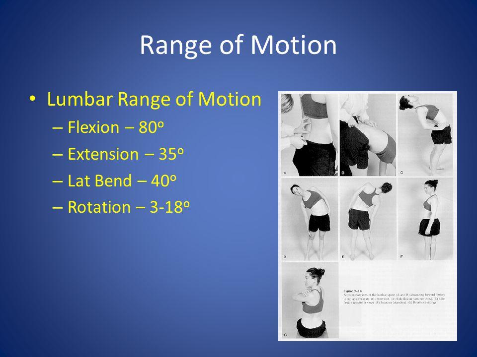 Range of Motion Lumbar Range of Motion – Flexion – 80 o – Extension – 35 o – Lat Bend – 40 o – Rotation – 3-18 o
