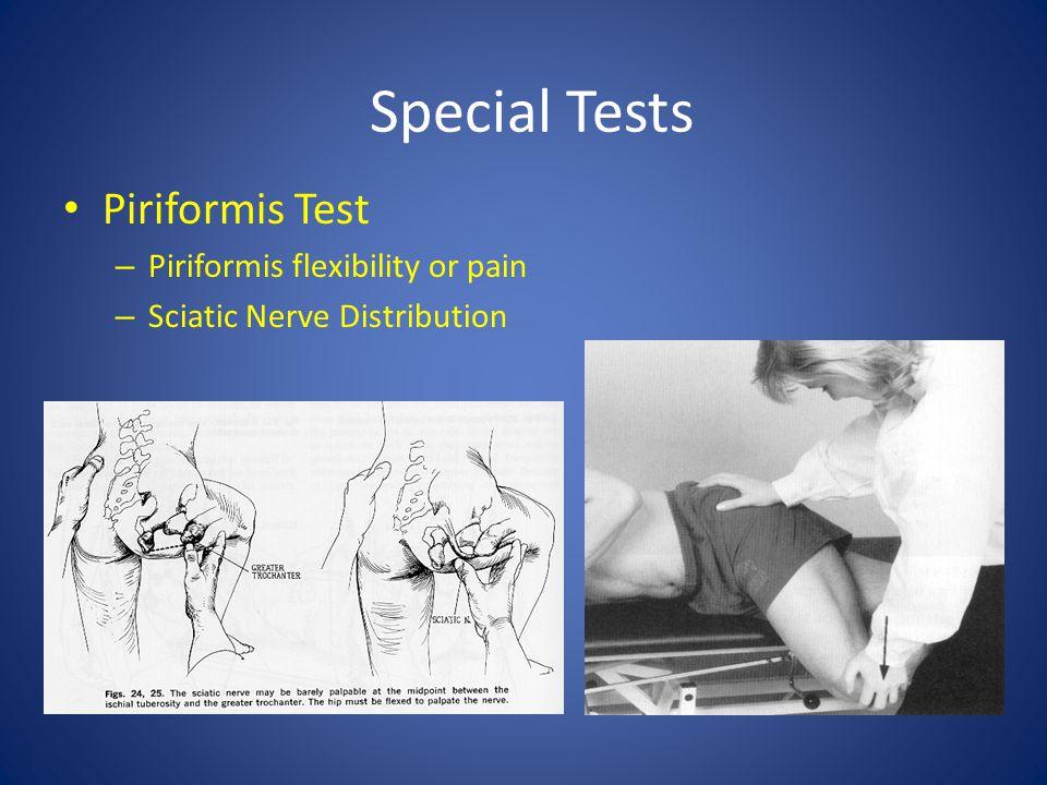 Special Tests Piriformis Test – Piriformis flexibility or pain – Sciatic Nerve Distribution