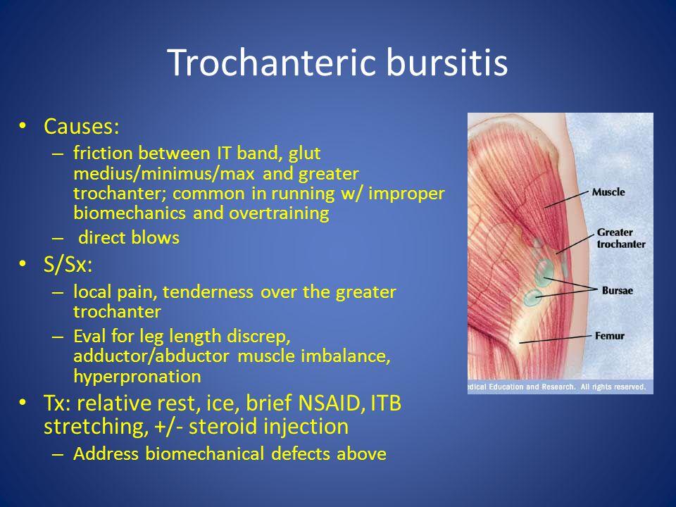 Trochanteric bursitis Causes: – friction between IT band, glut medius/minimus/max and greater trochanter; common in running w/ improper biomechanics a