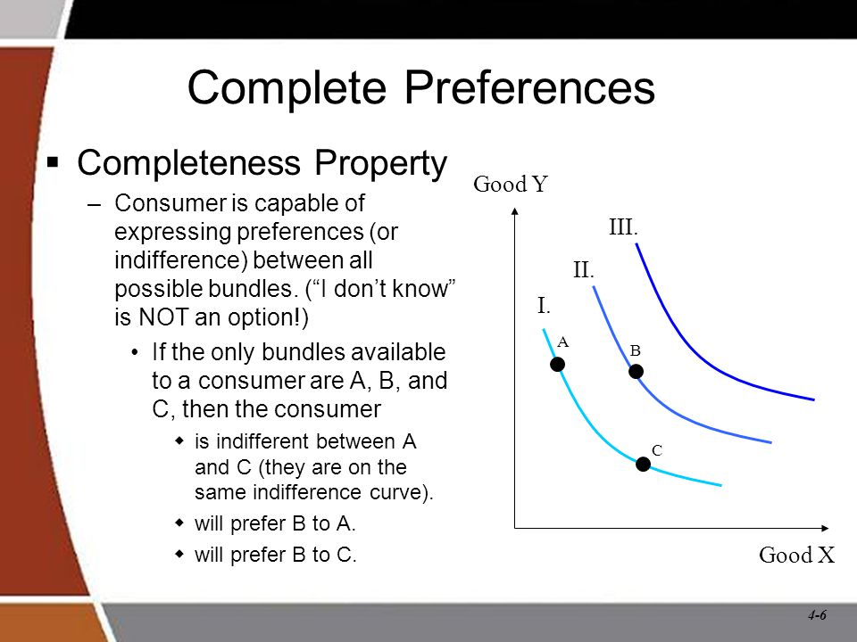 4-6 Complete Preferences  Completeness Property –Consumer is capable of expressing preferences (or indifference) between all possible bundles.