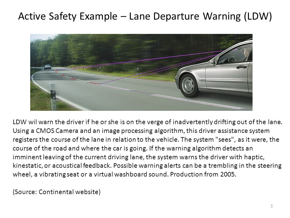 LDW wil warn the driver if he or she is on the verge of inadvertently drifting out of the lane. Using a CMOS Camera and an image processing algorithm,
