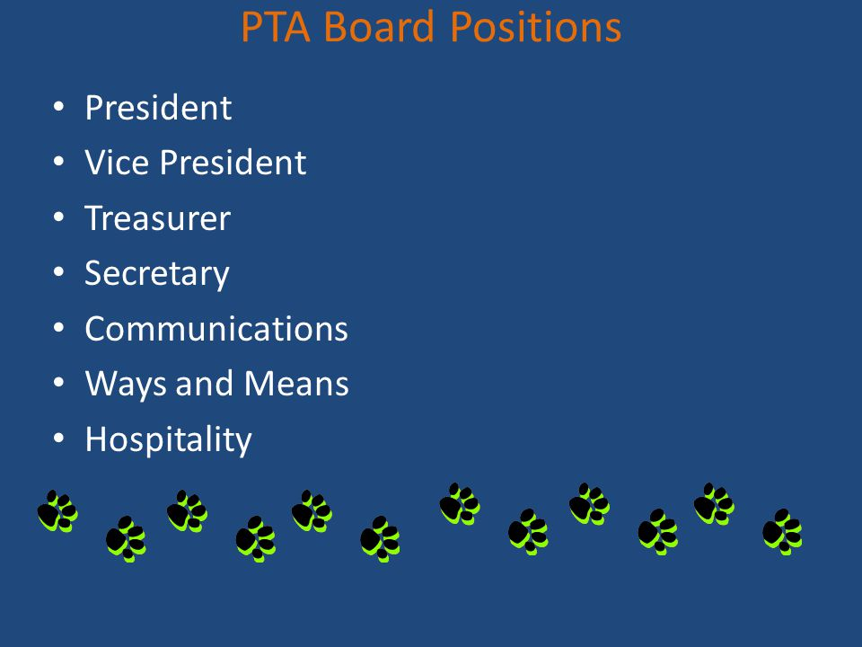 PTA Board Positions President Vice President Treasurer Secretary Communications Ways and Means Hospitality