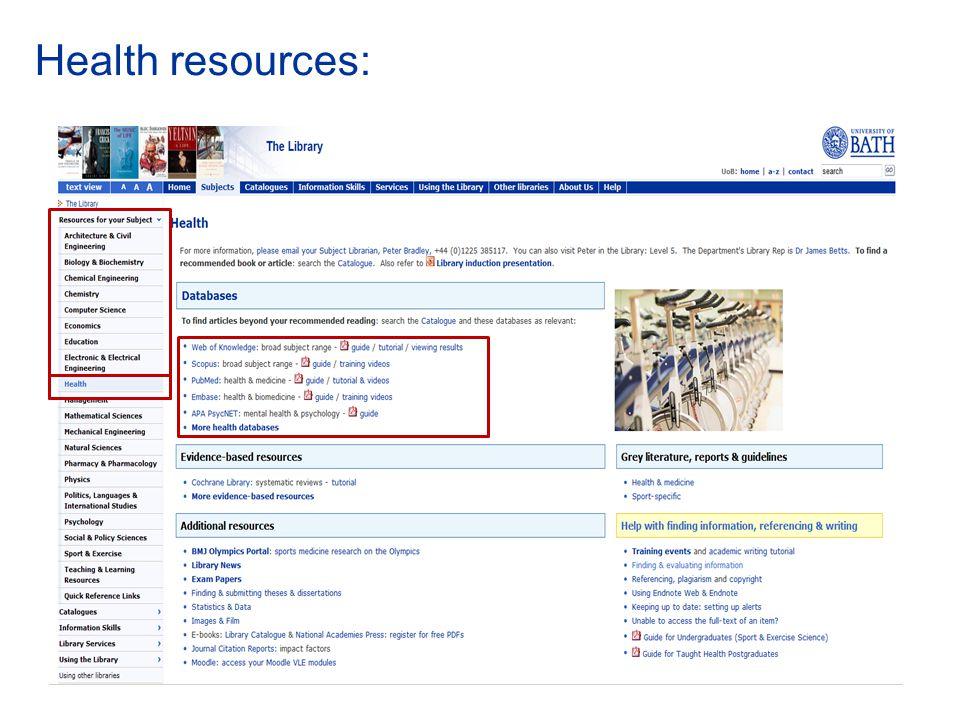 Health resources: