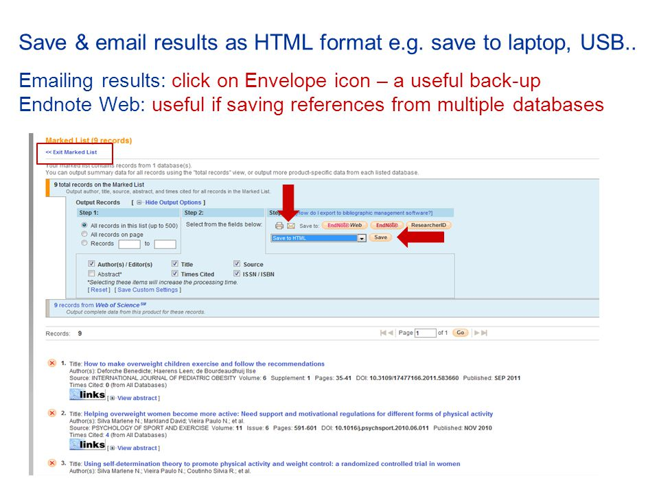 Save & email results as HTML format e.g. save to laptop, USB..
