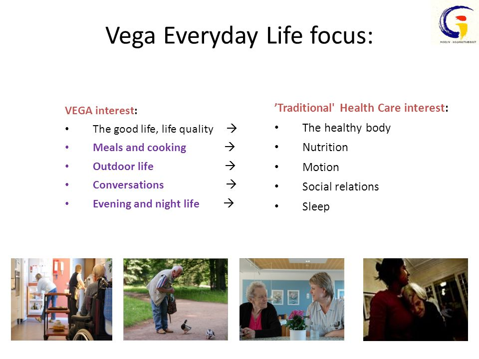 Vega Everyday Life focus: VEGA interest: The good life, life quality  Meals and cooking  Outdoor life  Conversations  Evening and night life  'Traditional Health Care interest: The healthy body Nutrition Motion Social relations Sleep