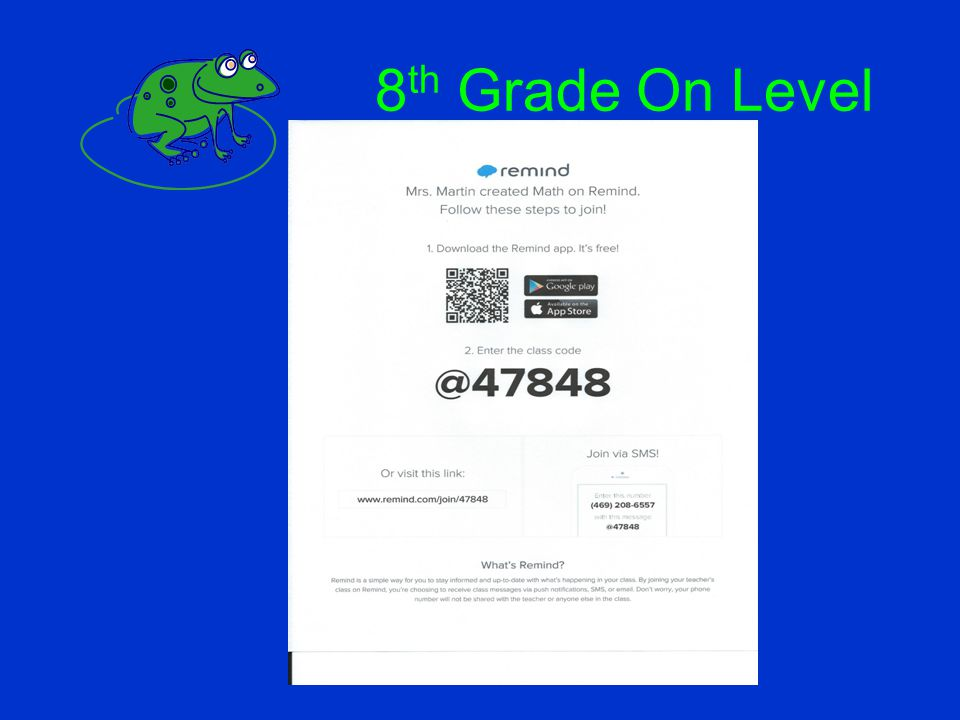 8 th Grade On Level
