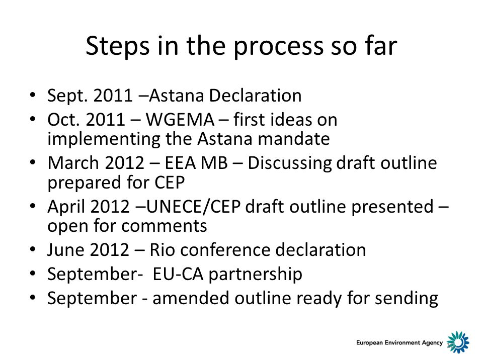 Steps in the process so far Sept. 2011 –Astana Declaration Oct.