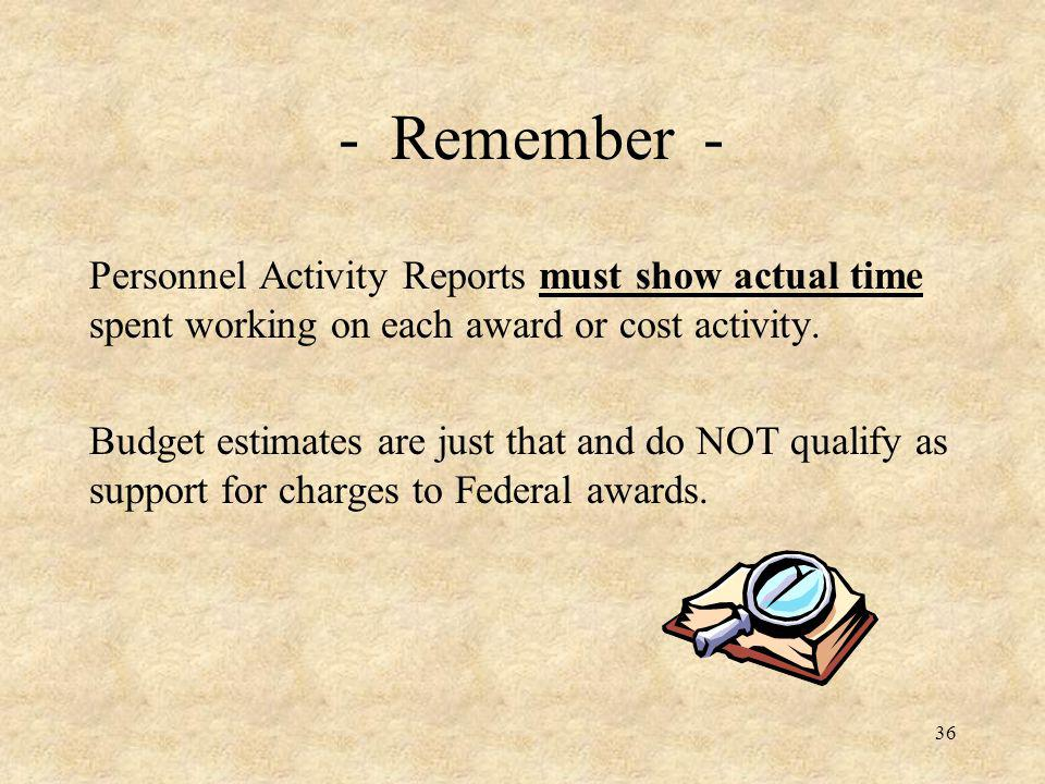 - Remember - Personnel Activity Reports must show actual time spent working on each award or cost activity.