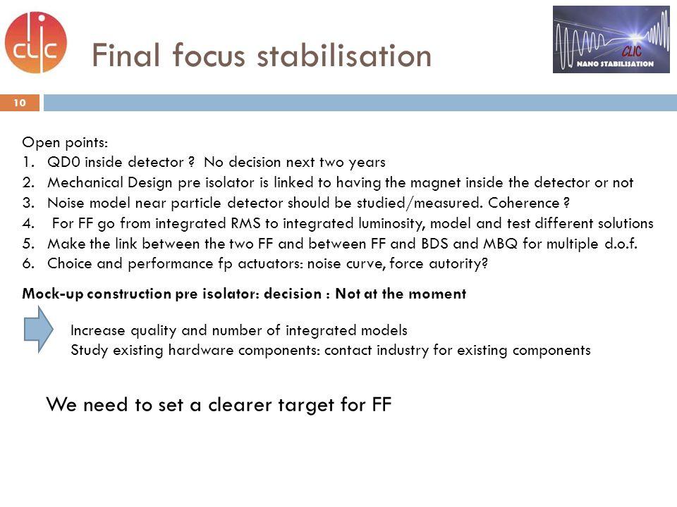Final focus stabilisation 10 Open points: 1.QD0 inside detector .