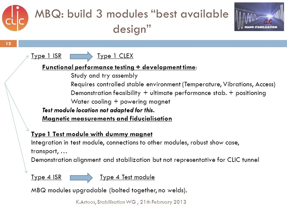 12 MBQ: build 3 modules best available design Functional performance testing + development time: Study and try assembly Requires controlled stable environment (Temperature, Vibrations, Access) Demonstration feasibility + ultimate performance stab.