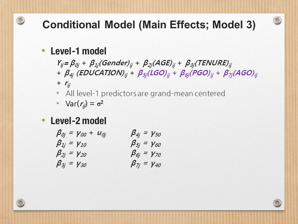 Conditional Model (Main Effects; Model 3) Level-1 model Y ij = β 0j + β 1j (Gender) ij + β 2j (AGE) ij + β 3j (TENURE) ij + β 4j (EDUCATION) ij + β 5j (LGO) ij + β 6j (PGO) ij + β 7j (AGO) ij + r ij All level-1 predictors are grand-mean centered Var( r ij ) = σ 2 Level-2 model β 0j = γ 00 + u 0j β 4j = γ 50 β 1j = γ 10 β 5j = γ 60 β 2j = γ 20 β 6j = γ 70 β 3j = γ 30 β 7j = γ 40