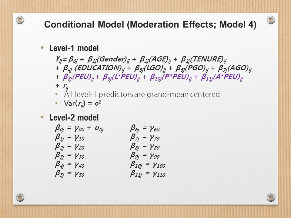 Conditional Model (Moderation Effects; Model 4) Level-1 model Y ij = β 0j + β 1j (Gender) ij + β 2j (AGE) ij + β 3j (TENURE) ij + β 4j (EDUCATION) ij