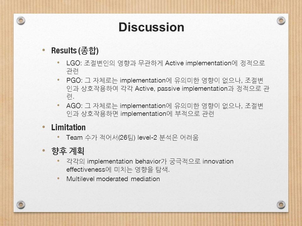Discussion Results ( 종합 ) LGO: 조절변인의 영향과 무관하게 Active implementation 에 정적으로 관련 PGO: 그 자체로는 implementation 에 유의미한 영향이 없으나, 조절변 인과 상호작용하여 각각 Active, passive implementation 과 정적으로 관 련.