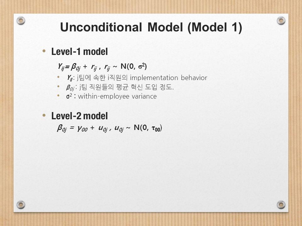 Unconditional Model (Model 1) Level-1 model Y ij = β 0j + r ij, r ij ~ N(0, σ 2 ) Y ij : j팀에 속한 i직원의 implementation behavior β 0j : j팀 직원들의 평균 혁신 도입 정도.