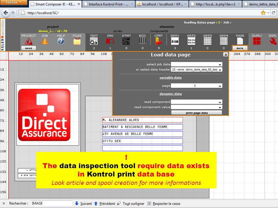 ! The data inspection tool require data exists in Kontrol print data base Look article and spool creation for more informations