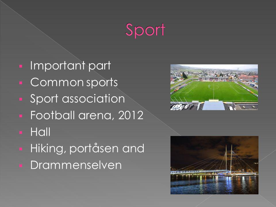  Important part  Common sports  Sport association  Football arena, 2012  Hall  Hiking, portåsen and  Drammenselven