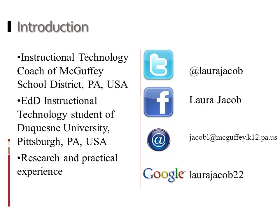 Introduction Instructional Technology Coach of McGuffey School District, PA, USA EdD Instructional Technology student of Duquesne University, Pittsbur
