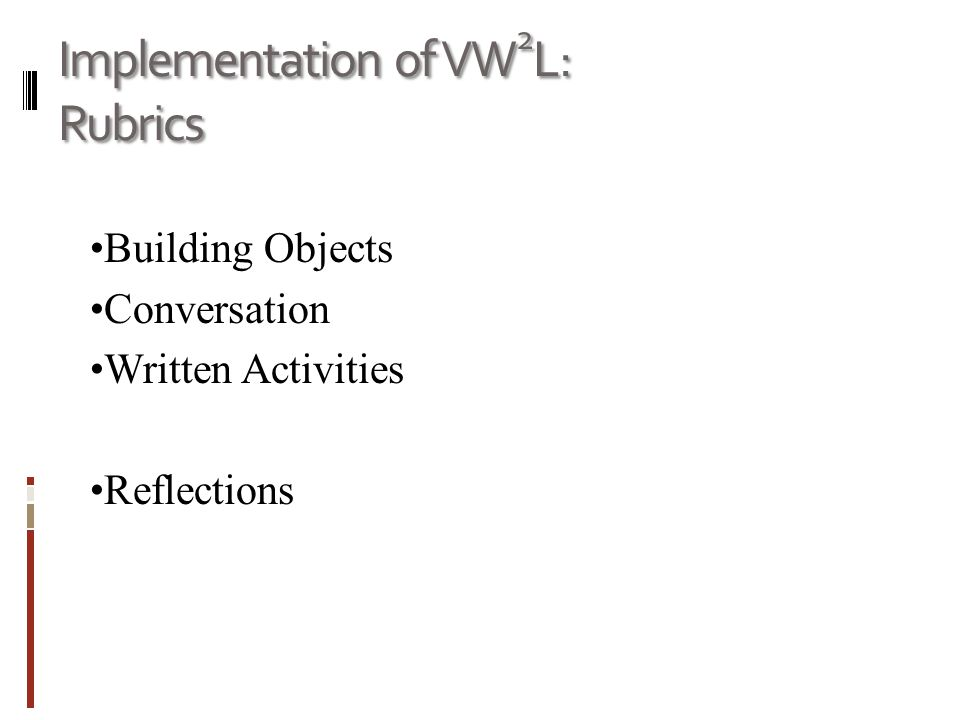 Implementation of VW 2 L: Rubrics Building Objects Conversation Written Activities Reflections