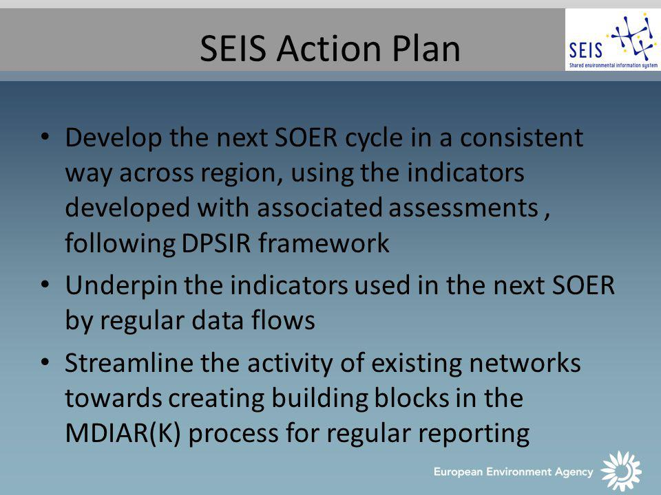 SEIS Action Plan Develop the next SOER cycle in a consistent way across region, using the indicators developed with associated assessments, following DPSIR framework Underpin the indicators used in the next SOER by regular data flows Streamline the activity of existing networks towards creating building blocks in the MDIAR(K) process for regular reporting