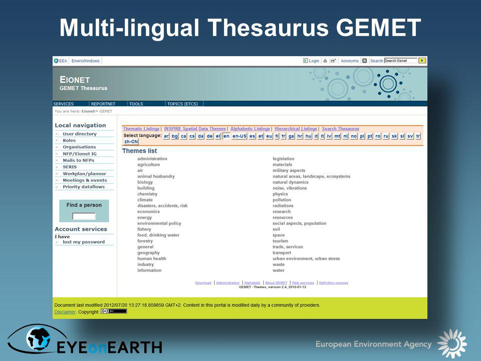 Multi-lingual Thesaurus GEMET
