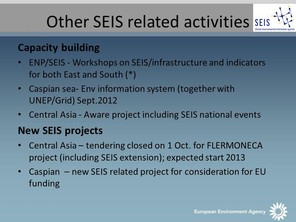 SEIS implementation plan – DG ENV Inter-service consultation of a EC staff working paper SEIS implementation plan Publication end 2012 (tbc.) Introducing SIIFs (Structured implementation and information frameworks) EEA is supporting pilot SIIFs on: Air quality Urban waste water treatment
