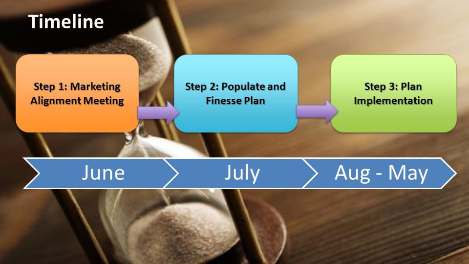Timeline Step 1: Marketing Alignment Meeting Step 2: Populate and Finesse Plan Step 3: Plan Implementation JuneJulyAug - May