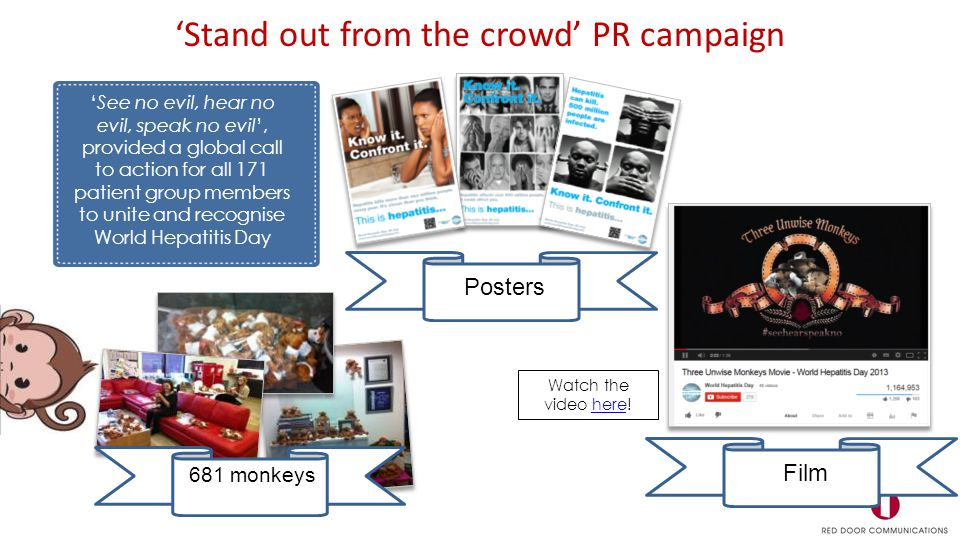 'See no evil, hear no evil, speak no evil', provided a global call to action for all 171 patient group members to unite and recognise World Hepatitis Day 'Stand out from the crowd' PR campaign Posters 681 monkeys Film Watch the video here!here