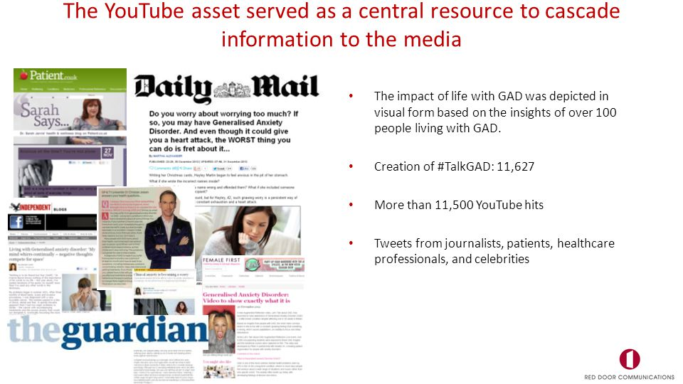 The YouTube asset served as a central resource to cascade information to the media The impact of life with GAD was depicted in visual form based on the insights of over 100 people living with GAD.