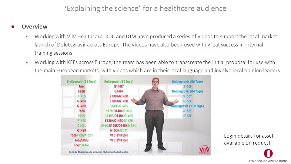 ●Overview o Working with ViiV Healthcare, RDC and DJM have produced a series of videos to support the local market launch of Dolutegravir across Europe.
