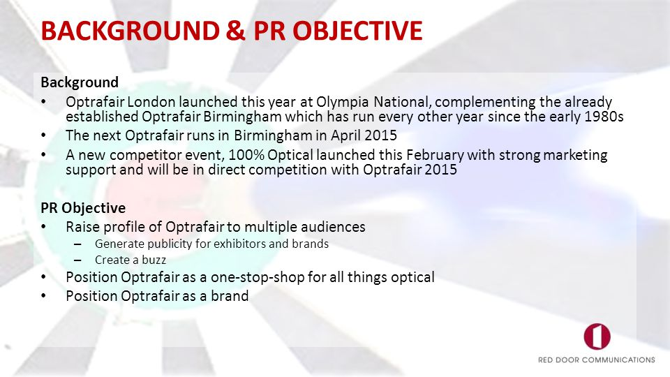 BACKGROUND & PR OBJECTIVE Background Optrafair London launched this year at Olympia National, complementing the already established Optrafair Birmingh