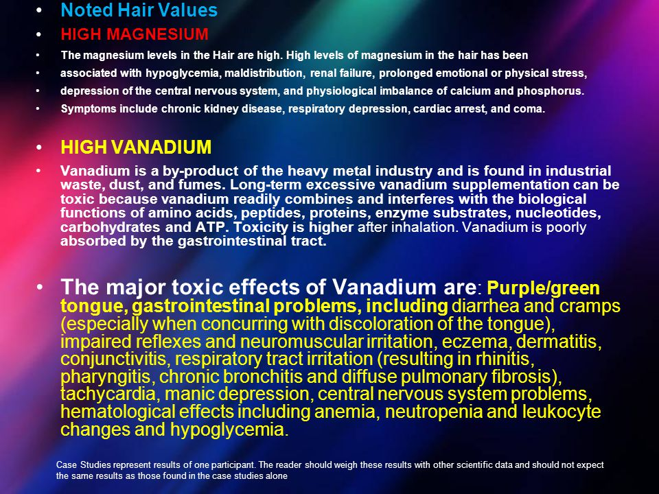 Noted Hair Values HIGH MAGNESIUM The magnesium levels in the Hair are high. High levels of magnesium in the hair has been associated with hypoglycemia