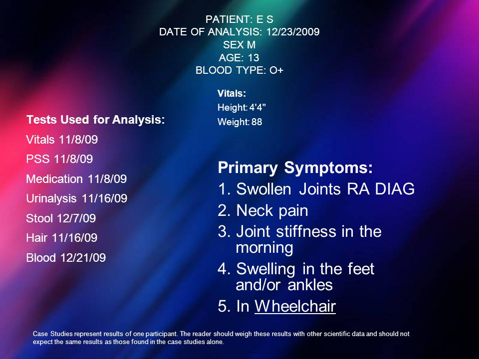 PATIENT: E S DATE OF ANALYSIS: 12/23/2009 SEX M AGE: 13 BLOOD TYPE: O+ Tests Used for Analysis: Vitals 11/8/09 PSS 11/8/09 Medication 11/8/09 Urinalys