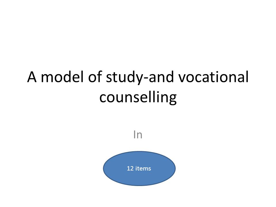 A model of study-and vocational counselling In 12 items