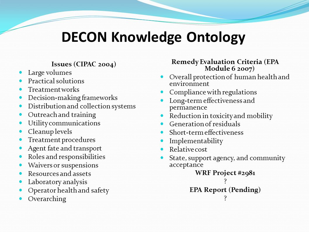 DECON Knowledge Ontology Issues (CIPAC 2004) Large volumes Practical solutions Treatment works Decision-making frameworks Distribution and collection systems Outreach and training Utility communications Cleanup levels Treatment procedures Agent fate and transport Roles and responsibilities Waivers or suspensions Resources and assets Laboratory analysis Operator health and safety Overarching Remedy Evaluation Criteria (EPA Module 6 2007) Overall protection of human health and environment Compliance with regulations Long-term effectiveness and permanence Reduction in toxicity and mobility Generation of residuals Short-term effectiveness Implementability Relative cost State, support agency, and community acceptance WRF Project #2981 .