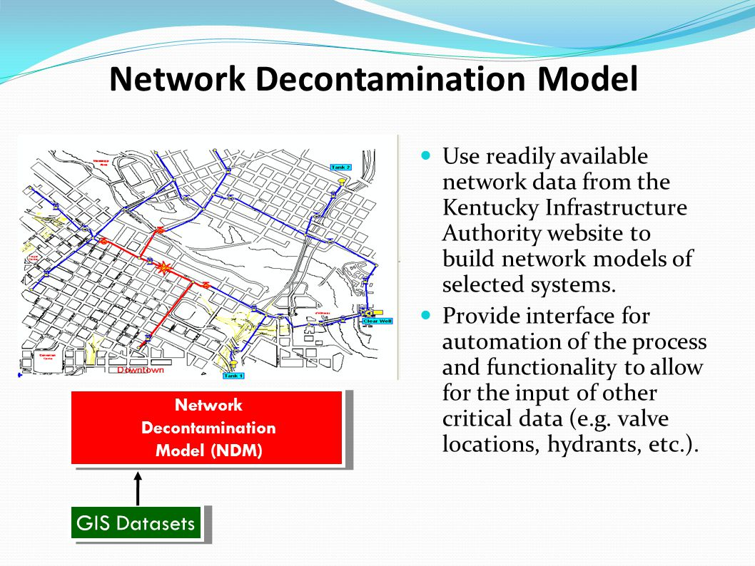 Network Decontamination Model Use readily available network data from the Kentucky Infrastructure Authority website to build network models of selected systems.