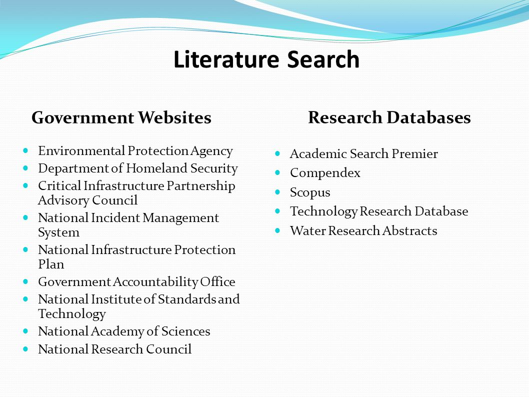 Search phrasesASPASCECompScopusTRDWRA Contaminants in drinking water 810425651558103 Removing contaminants from drinking water 29 Contaminants in drinking water systems 239 Removing contaminants from drinking water systems 13 Summary of Literature Searches Databases: ASP = Advanced Search Premier (EBSCO) ASCE = American Society of Civil Engineers Comp = Compendex (Engineering Village) TRD = Technology Resources Database (Illumina) WRA = Water Research Abstract (Illumina)
