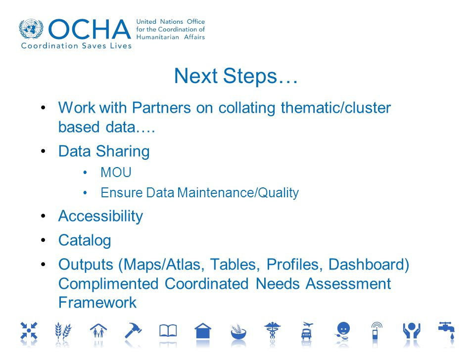 Next Steps… Work with Partners on collating thematic/cluster based data….