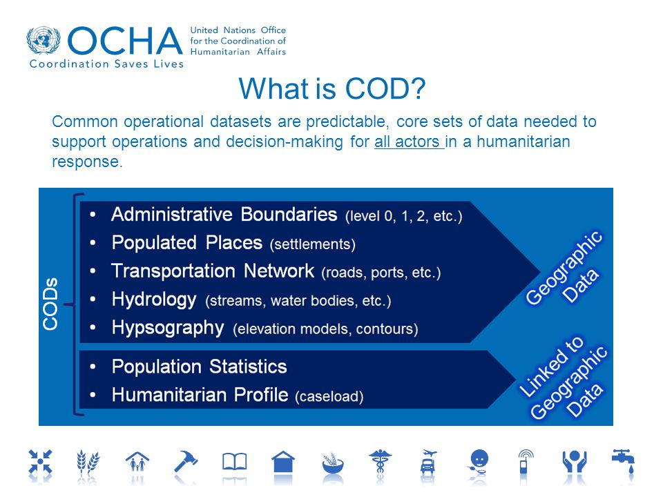 Common operational datasets are predictable, core sets of data needed to support operations and decision-making for all actors in a humanitarian response.