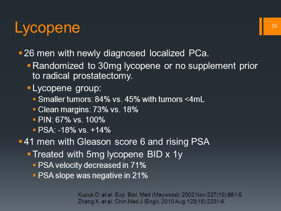 Lycopene  26 men with newly diagnosed localized PCa.