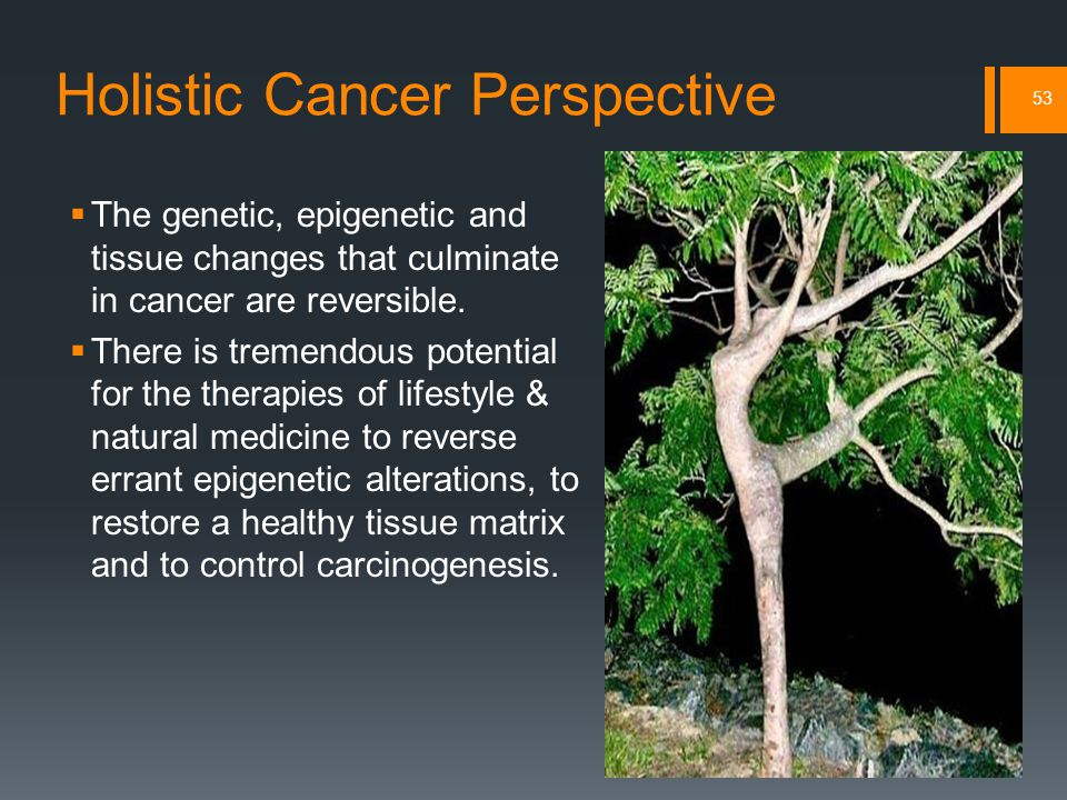Holistic Cancer Perspective  The genetic, epigenetic and tissue changes that culminate in cancer are reversible.  There is tremendous potential for