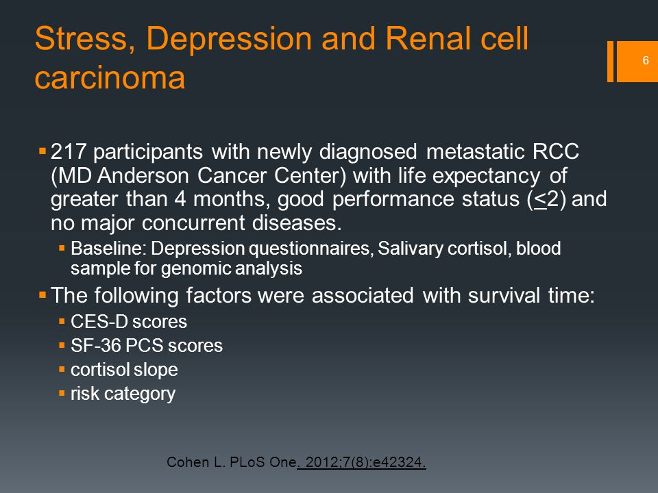 Stress, Depression and Renal cell carcinoma  217 participants with newly diagnosed metastatic RCC (MD Anderson Cancer Center) with life expectancy of greater than 4 months, good performance status (<2) and no major concurrent diseases.