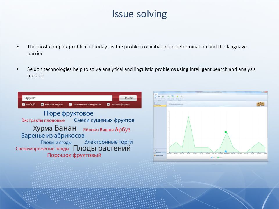 The most complex problem of today - is the problem of initial price determination and the language barrier Seldon technologies help to solve analytical and linguistic problems using intelligent search and analysis module Issue solving