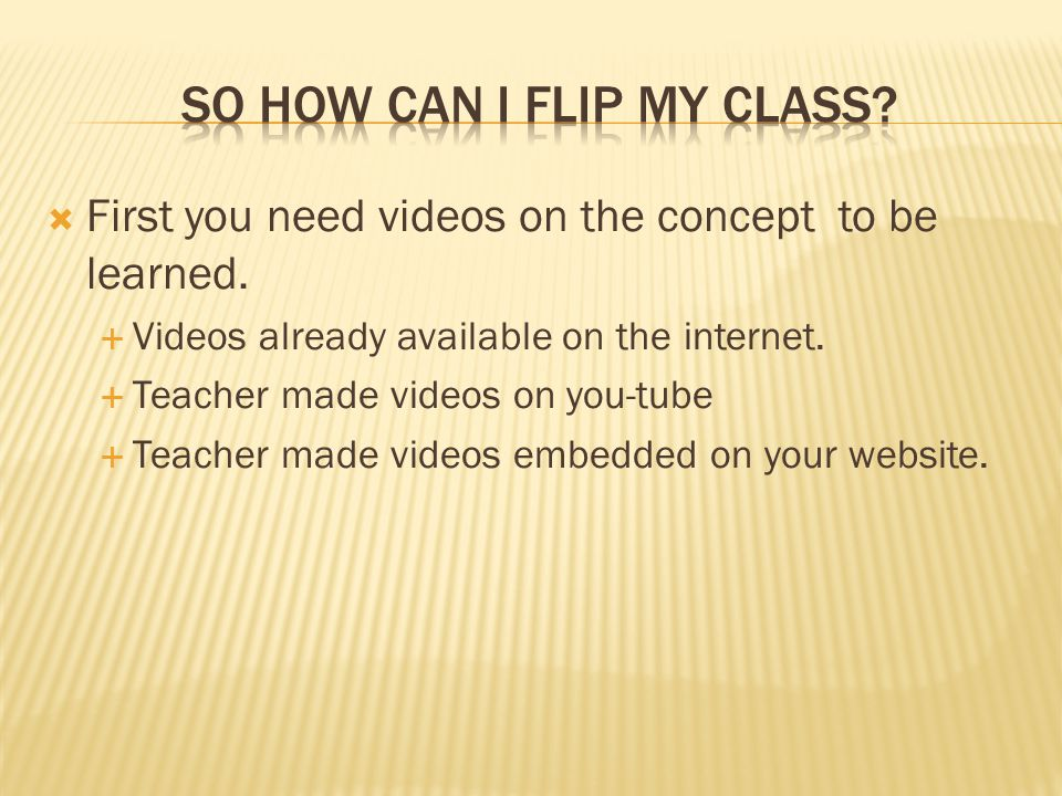  First you need videos on the concept to be learned.