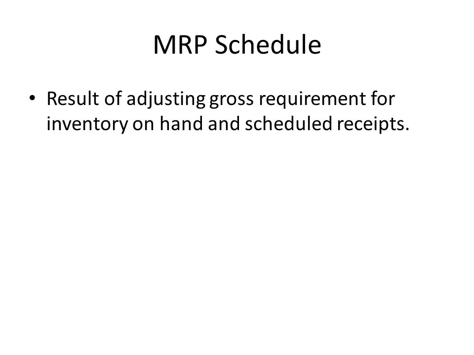MRP Schedule Result of adjusting gross requirement for inventory on hand and scheduled receipts.