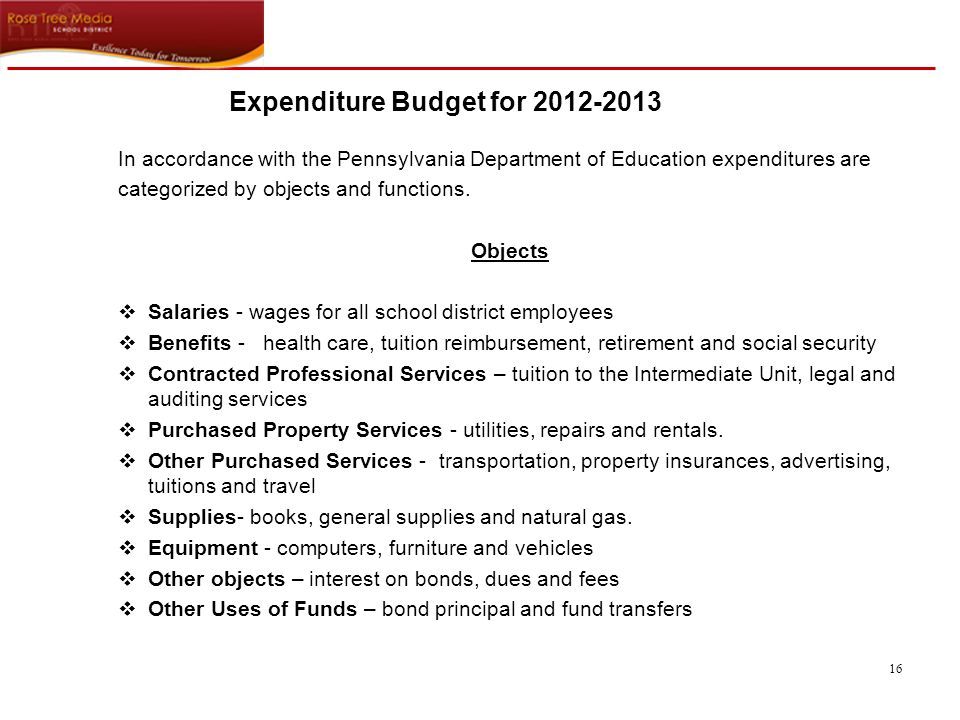 16 In accordance with the Pennsylvania Department of Education expenditures are categorized by objects and functions.