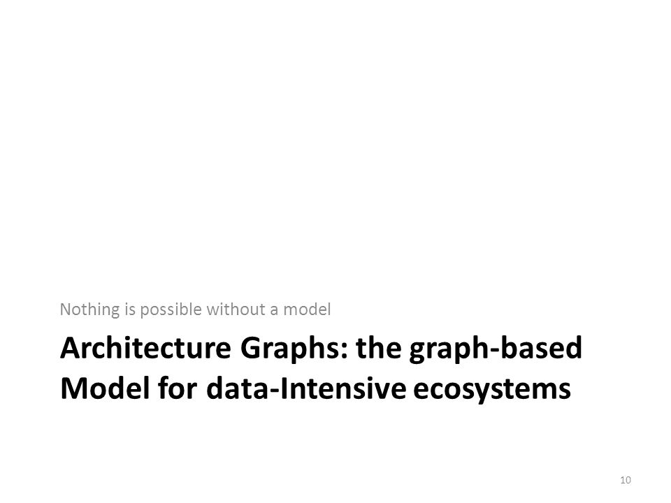 Architecture Graphs: the graph-based Model for data-Intensive ecosystems Nothing is possible without a model 10
