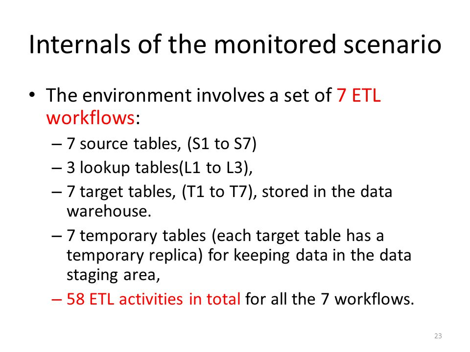 Internals of the monitored scenario The environment involves a set of 7 ETL workflows: – 7 source tables, (S1 to S7) – 3 lookup tables(L1 to L3), – 7 target tables, (T1 to T7), stored in the data warehouse.
