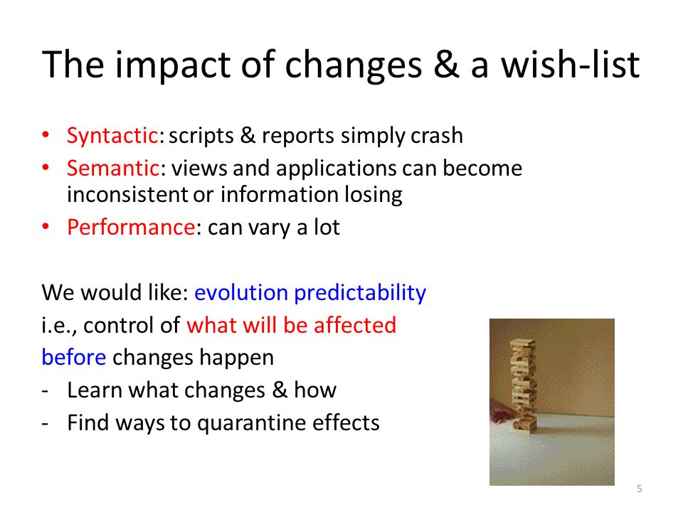 The impact of changes & a wish-list Syntactic: scripts & reports simply crash Semantic: views and applications can become inconsistent or information losing Performance: can vary a lot We would like: evolution predictability i.e., control of what will be affected before changes happen -Learn what changes & how -Find ways to quarantine effects 5