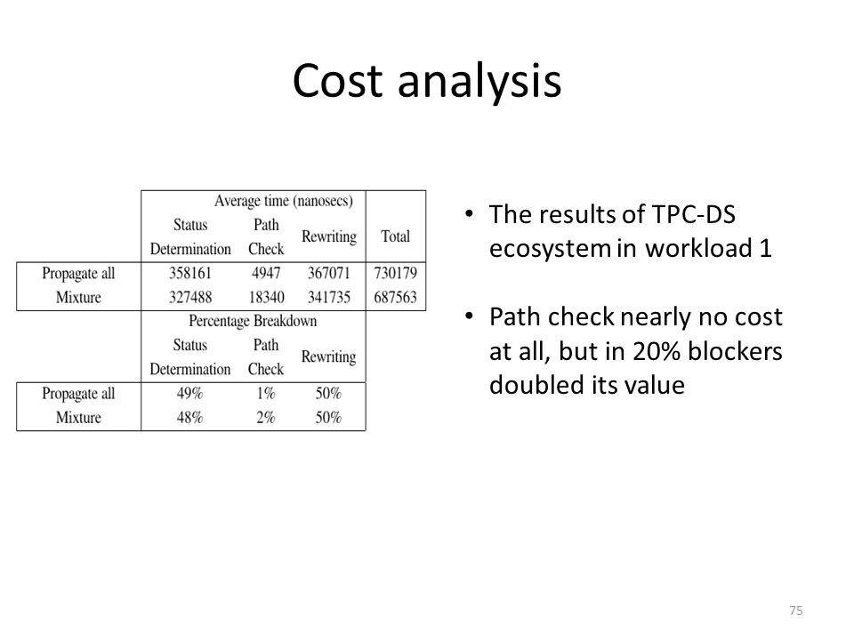 Cost analysis The results of TPC-DS ecosystem in workload 1 Path check nearly no cost at all, but in 20% blockers doubled its value 75